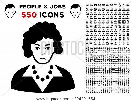 Pitiful Brunette Lady icon with 550 bonus pitiful and happy people design elements. Vector illustration style is flat black iconic symbols.
