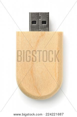 Top view of wooden Usb flash drive isolated on white