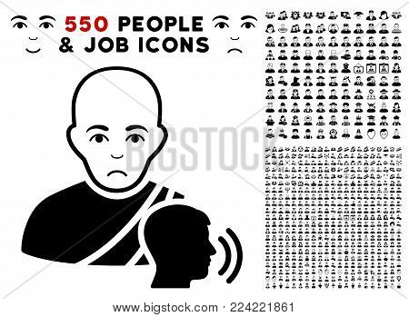 Unhappy Buddhist Confession pictograph with 550 bonus pitiful and happy person graphic icons. Vector illustration style is flat black iconic symbols.