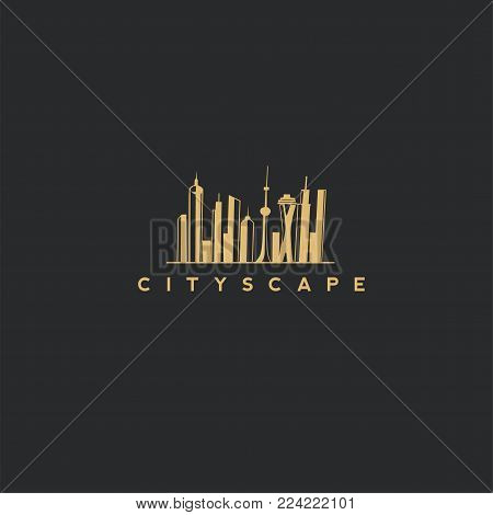 city scape logo with black background and typography.