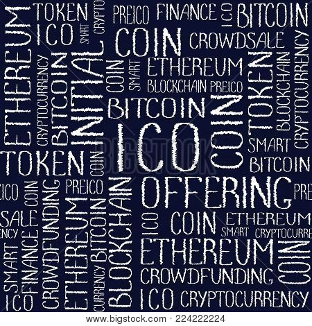 ICO Initial coin offering, startup crowdfunding, blockchain technology texture. ICO concept words pattern on dark navy blue background. Seamless pattern