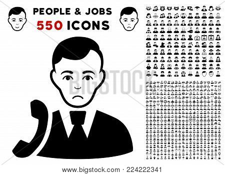 Pitiful Call Manager icon with 550 bonus pity and happy person clip art. Vector illustration style is flat black iconic symbols.