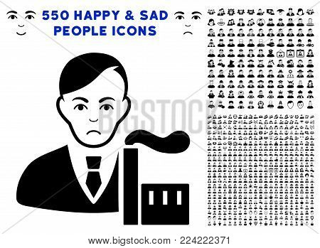 Pitiful Capitalist Oligarch icon with 550 bonus sad and glad person pictographs. Vector illustration style is flat black iconic symbols.