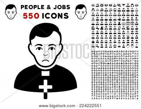 Pitiful Catholic Priest pictograph with 550 bonus pity and glad person images. Vector illustration style is flat black iconic symbols.