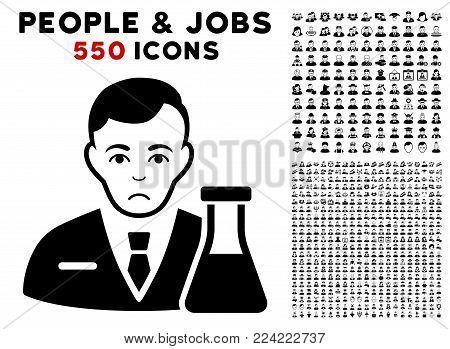 Sad Chemistry Man icon with 550 bonus pity and glad people pictographs. Vector illustration style is flat black iconic symbols.
