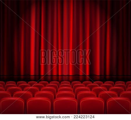 Closed Red Curtains with Seats in a theater or ceremony. Realistic Theater hall, Opera or Cinema Scene for your design. Movie premiere poster. Vector Illustration EPS 10.
