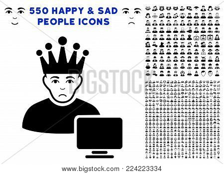 Dolor Computer Moderator icon with 550 bonus pitiful and happy men pictographs. Vector illustration style is flat black iconic symbols.