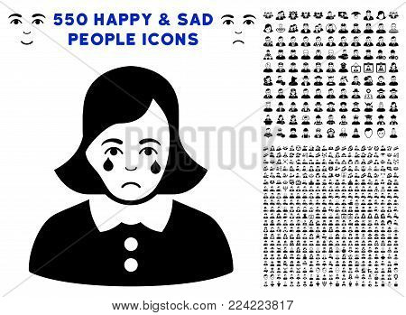 Unhappy Crying Woman pictograph with 550 bonus pitiful and happy men graphic icons. Vector illustration style is flat black iconic symbols.