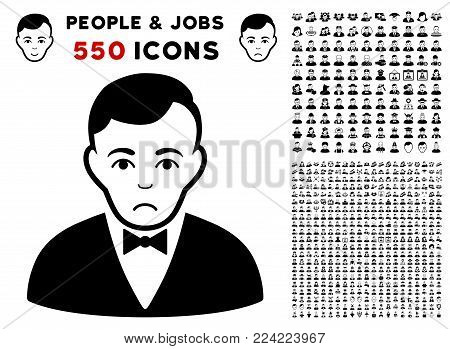 Pitiful Dealer icon with 550 bonus pity and happy men pictograms. Vector illustration style is flat black iconic symbols.