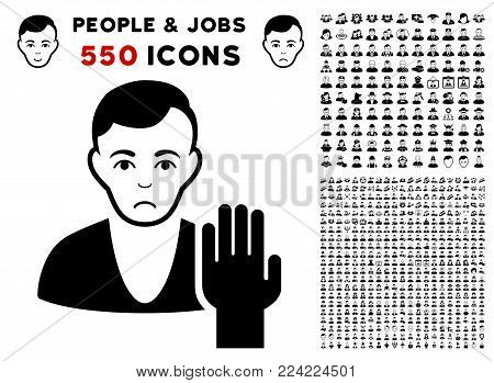 Pitiful Elector pictograph with 550 bonus sad and happy people pictographs. Vector illustration style is flat black iconic symbols.