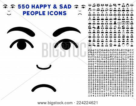 Dolor Face icon with 550 bonus sad and glad person pictograms. Vector illustration style is flat black iconic symbols.