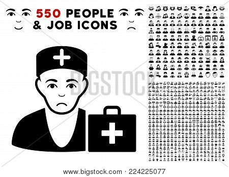 Dolor First-Aid Doctor pictograph with 550 bonus pity and happy user symbols. Vector illustration style is flat black iconic symbols.