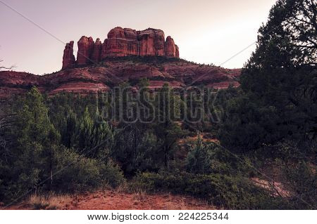 Cathedral rock in Sedona after sundown. Beautiful dark red tones