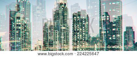 Cityscape In Double Exposure Glitch Style