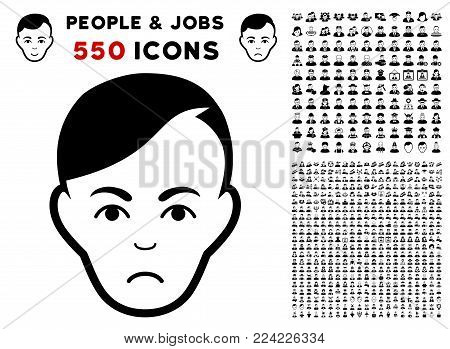 Dolor Human Head pictograph with 550 bonus pity and happy person graphic icons. Vector illustration style is flat black iconic symbols.