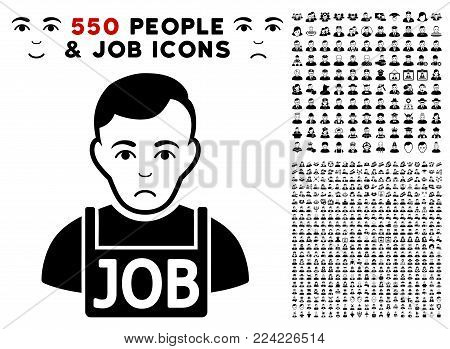 Dolor Jobless icon with 550 bonus sad and glad person pictographs. Vector illustration style is flat black iconic symbols.