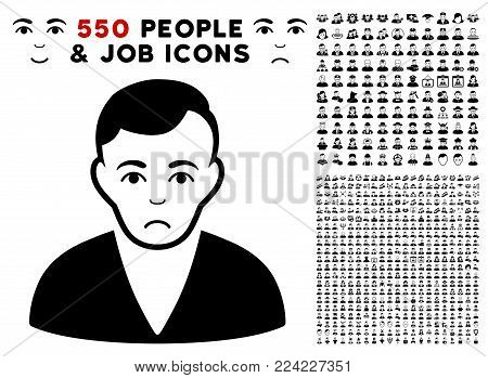 Pitiful Man icon with 550 bonus pitiful and glad person graphic icons. Vector illustration style is flat black iconic symbols.