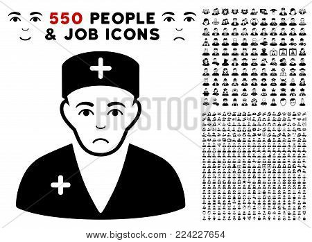 Dolor Medic pictograph with 550 bonus pity and happy people graphic icons. Vector illustration style is flat black iconic symbols.