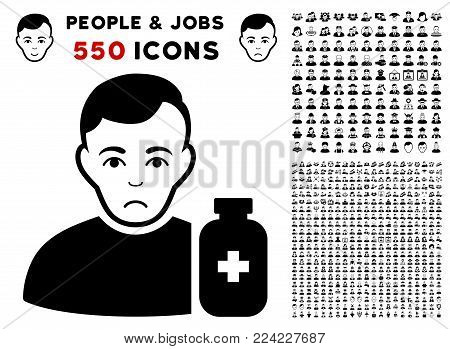 Sad Medical Pharmacist pictograph with 550 bonus pitiful and happy jobs pictograms. Vector illustration style is flat black iconic symbols.