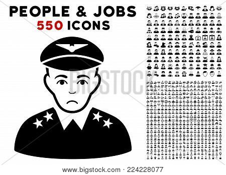Dolor Military Pilot Officer pictograph with 550 bonus pity and glad user symbols. Vector illustration style is flat black iconic symbols.