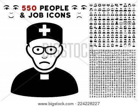 Dolor Monastic Doctor icon with 550 bonus pitiful and glad user design elements. Vector illustration style is flat black iconic symbols.