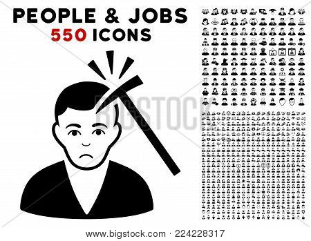 Dolor Murder With Hammer pictograph with 550 bonus sad and happy people pictograms. Vector illustration style is flat black iconic symbols.