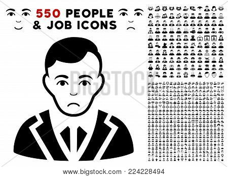 Sadly Noble Gentleman icon with 550 bonus pitiful and glad people images. Vector illustration style is flat black iconic symbols.