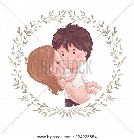 Cute couple. Wreath with simple. Man hold women on hand. Sweet and romantic embrace. Wedding invitation, save the date or valentine day card design. Lovely family print. Girl and boy together.