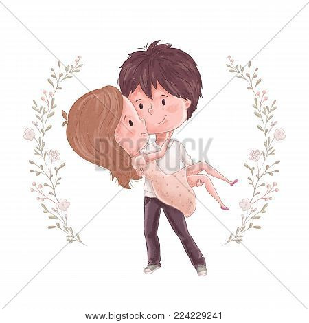 Cute couple. Man hold women on hand. Sweet and romantic embrace. Wedding invitation, save the date or valentine day card design. Lovely family print. Girl and boy together. People relationship.