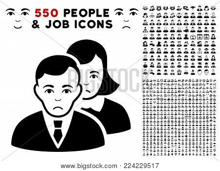 Pitiful People icon with 550 bonus pity and happy people clip art. Vector illustration style is flat black iconic symbols.