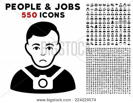 Pitiful Photographer icon with 550 bonus pity and happy men icons. Vector illustration style is flat black iconic symbols.
