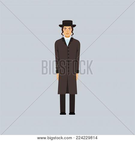 Jewish Rabbi dressed in black, religion r epresentative vector Illustration in a flat style