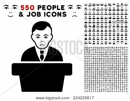 Pitiful Politician icon with 550 bonus pitiful and happy men images. Vector illustration style is flat black iconic symbols.