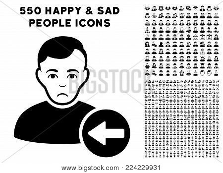 Sadly Previous User pictograph with 550 bonus pitiful and glad men design elements. Vector illustration style is flat black iconic symbols.