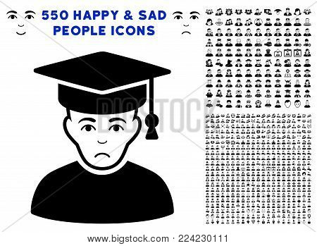 Sadly Professor icon with 550 bonus pitiful and glad men graphic icons. Vector illustration style is flat black iconic symbols.