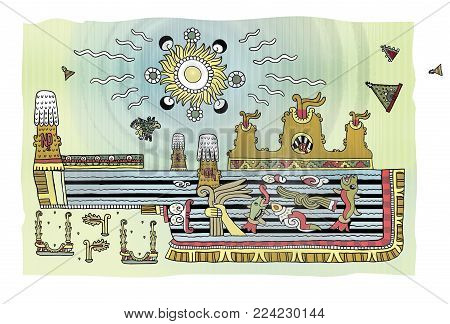 Apocalyptic landscape with the sea and mountains in the ornamental style of the Mayans. Eruption. Water in the form of sulfuric acid. The dying fish. Solar radiation.