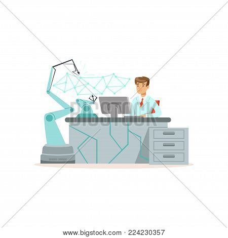 Male scientist working with robotic arm conducting experiments in a modern laboratory vector illustration isolated on a white background