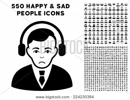 Pitiful Radio Manager pictograph with 550 bonus pitiful and happy people pictures. Vector illustration style is flat black iconic symbols.