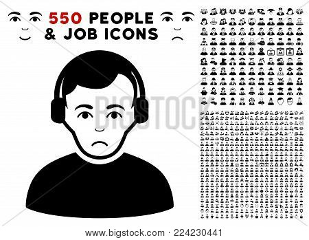 Pitiful Radioman pictograph with 550 bonus pity and glad user icons. Vector illustration style is flat black iconic symbols.
