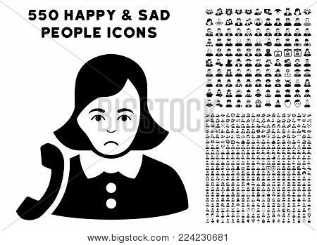 Sadly Receptionist Woman pictograph with 550 bonus sad and glad user graphic icons. Vector illustration style is flat black iconic symbols.
