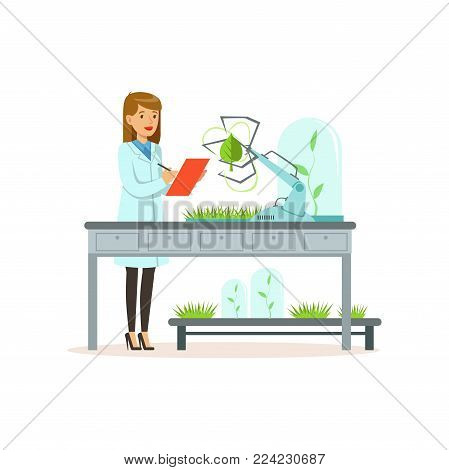 Female scientist and robotic arm conducting experiments in a modern laboratory, robotic arm working and testing green tree leaf, artificial intelligence concept vector illustration isolated on a white background