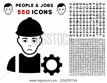 Sad Repairman pictograph with 550 bonus sad and happy user pictographs. Vector illustration style is flat black iconic symbols.