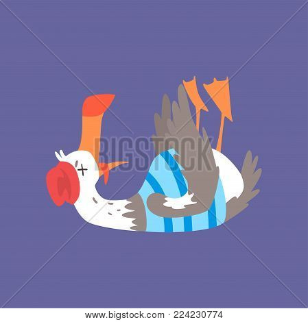 Dead seagull lying on its back, comic bird character cartoon vector illustration isolated on a blue background