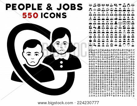 Unhappy Ringed People Couple pictograph with 550 bonus pitiful and happy people pictographs. Vector illustration style is flat black iconic symbols.