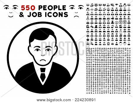 Pitiful Rounded Gentleman pictograph with 550 bonus pitiful and glad person pictographs. Vector illustration style is flat black iconic symbols.