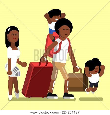 Afro american family with kids at airport. Vector illustration, EPS 10