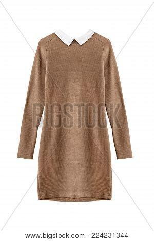 Basic brown elegant mini dress with white collar isolated over white