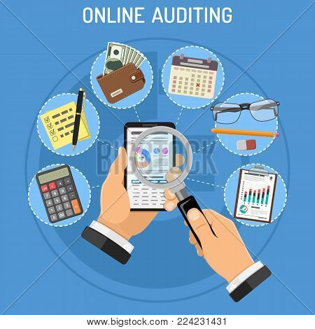 Online Auditing, Tax, Accounting Concept. Auditor Holds Smartphone in Hand and Checks Financial Report with Charts on Screen using a Magnifying Glass. Flat Style Icons. Vector Illustration