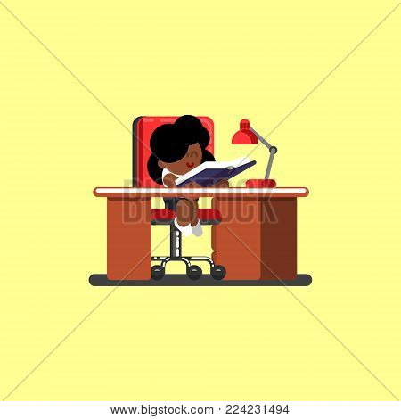 Afro american girl reads book. Vector illustration, EPS 10