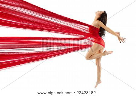 Woman Dance Red Fabric, Sexy Model Dancing Modern Sport Gymnastics, Young Girl Isolated on White, Body Beauty Concept